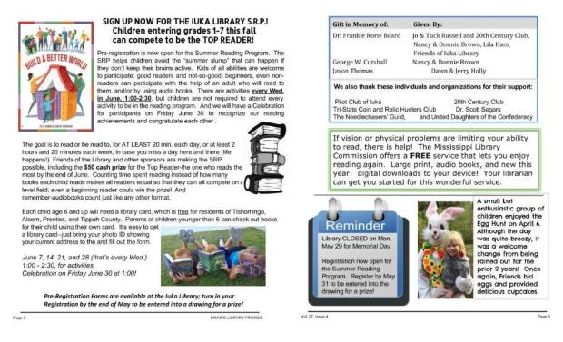 Iuka Friends of the Library Newsletter