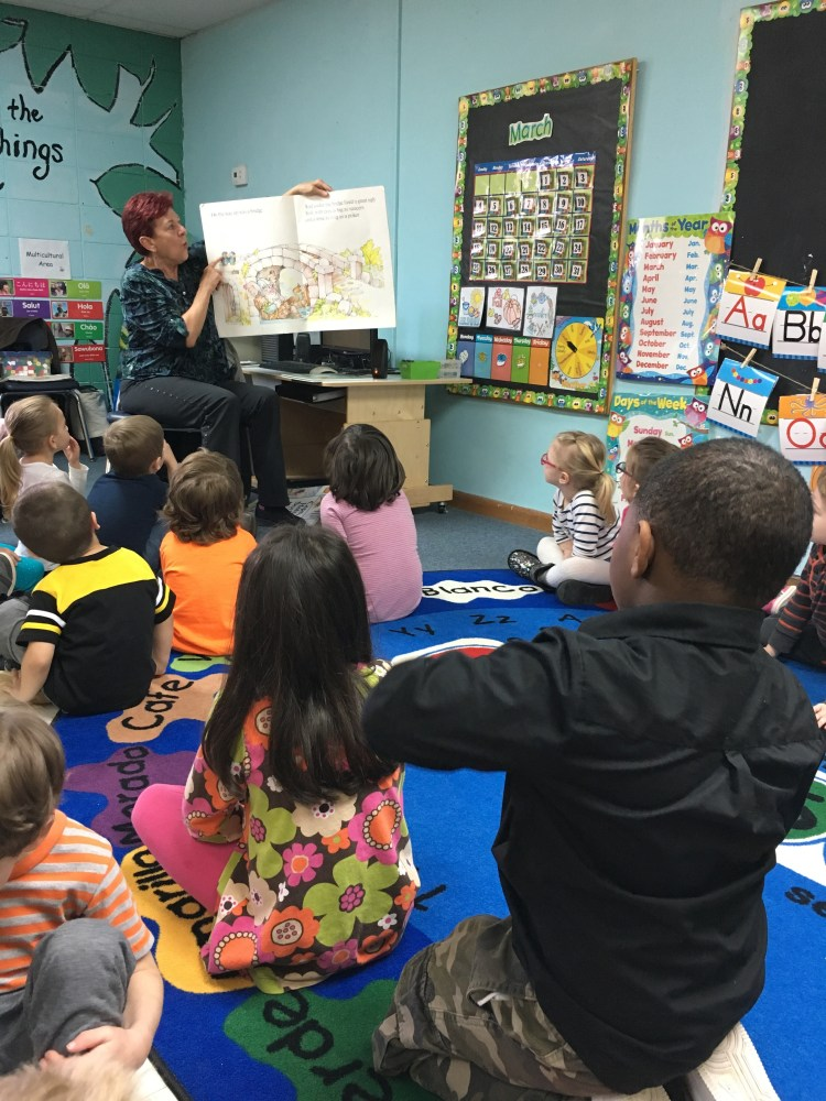 IU librarian reads to Head Start as part of their Community Helpers unit.
