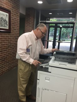 A patron using the color copier at Corinth library.We know this guy, he's Clay Nails.Snapshot Day at Iuka Library, August 6, 2019