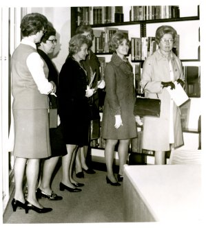 Ladies visiting the Northeast Regional Library opening in 1970.