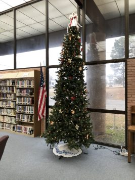 The George E Allen Library is decorated for the holidays!