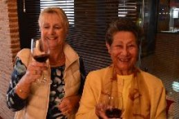 Jeanie and Valerie enjoy the wine tasting