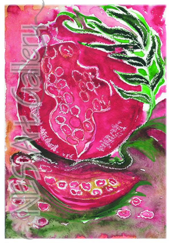 Original Watercolor Painting Pomegranate Kitchen Art Made Israel