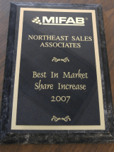 Mifab Market Share Increase Award 2007