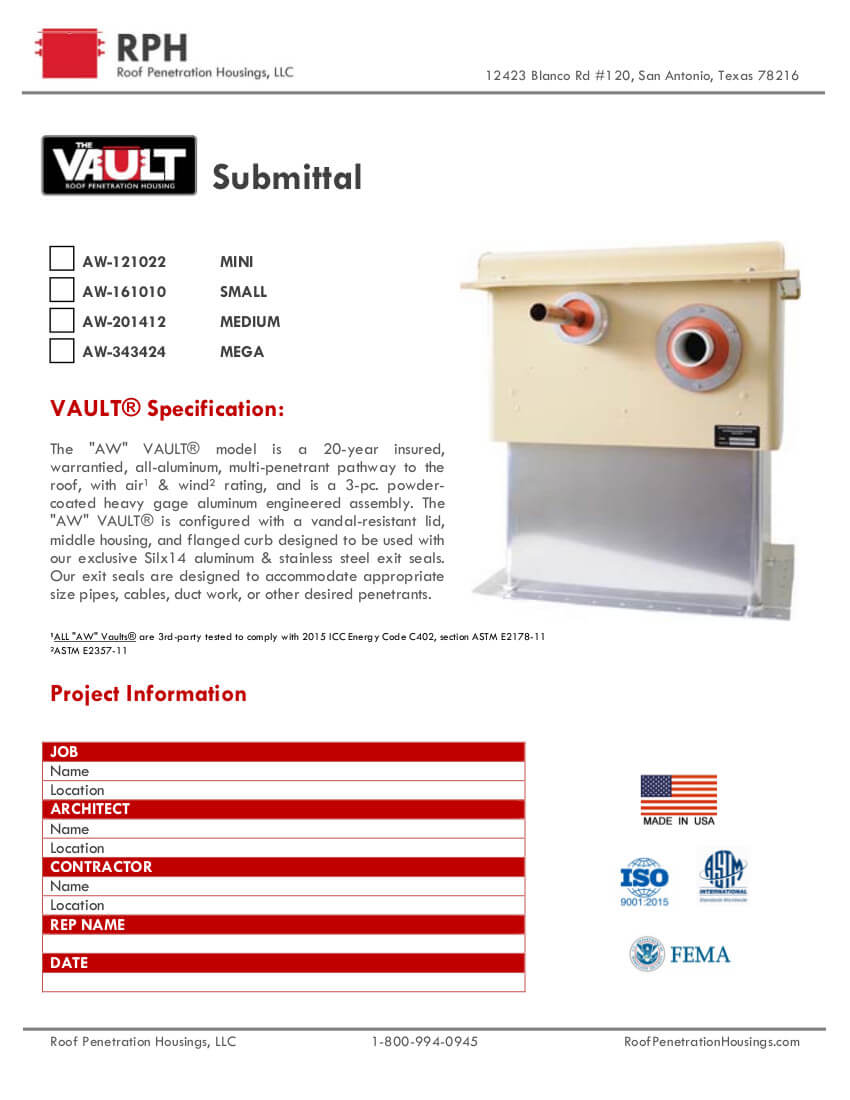Roof Penetration Housing The Vault AWVault Front