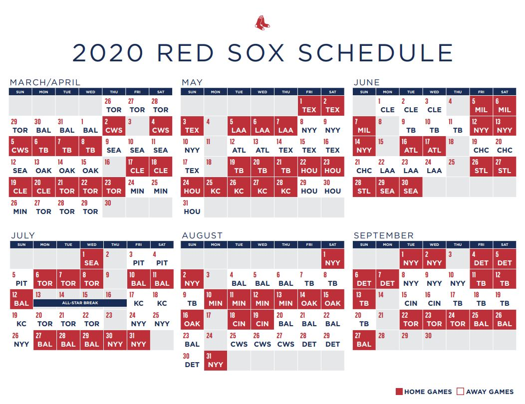 Red Sox Schedule Boston To Open New Season In