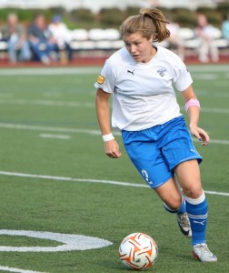 Katie Schoepfer, one of the Breakers leading scorers in 2012 is returning to the team this season. (Photo credit: Mark Gardner/Courtesy of the Boston Breakers)