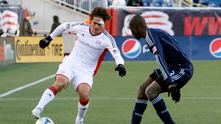 Revolution midfielder Ryan Guy came on in the second half to spell Chad Barrett in Saturday's 0-0 draw against Sporting K.C. (Photo: Chris Aduama/aduama.com)