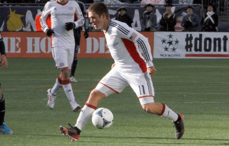 Kelyn Rowe's two goals helped steer the Revolution to a dominating 5-1 win over Rochester on Tuesday. (Photo: Chris Aduama/aduama.com)