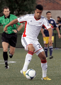 Gabe Latigue assisted on Kelyn Rowe's first goal. (Photo: Chris Aduama/aduama.com)