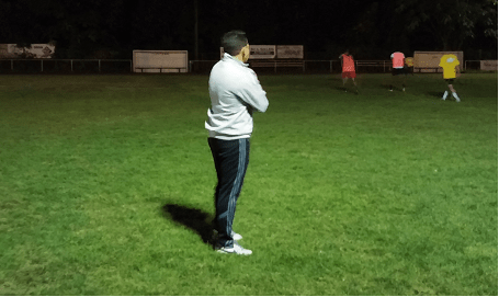Charris oversees a recent training session at Lusitana Field.