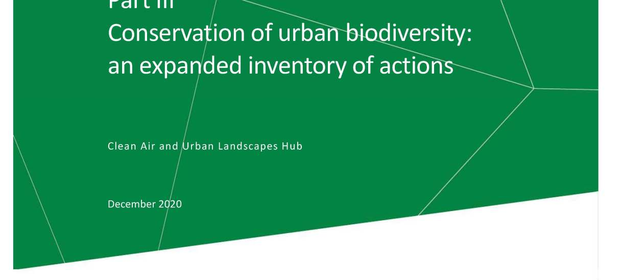 Conservation of urban biodiversity: an expanded inventory of actions PART III