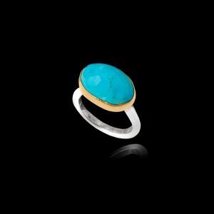 Χειροποίητο Δαχτυλίδι σε Ασήμι και Χρυσό με Τυρκουάζ - DA165