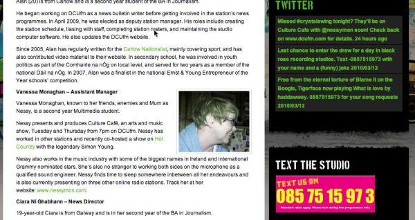 DCUfm Staff page