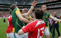 Mark Ward of Meath is struck by a Louth supporter at the end of the Leinster SFC final game at Croke Park - INPHO