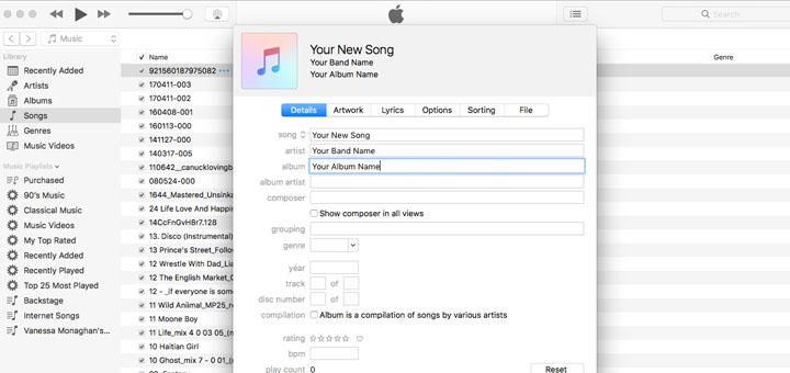 Metadata in iTunes
