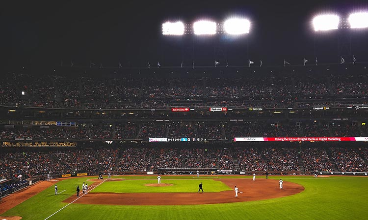 Night time AT&T Park - now Oracle Park, San Francisco