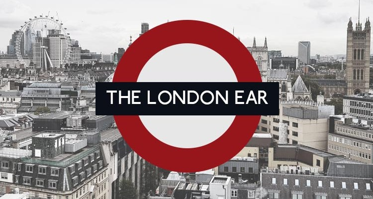 The London Ear roundel logo over the London City skyscape