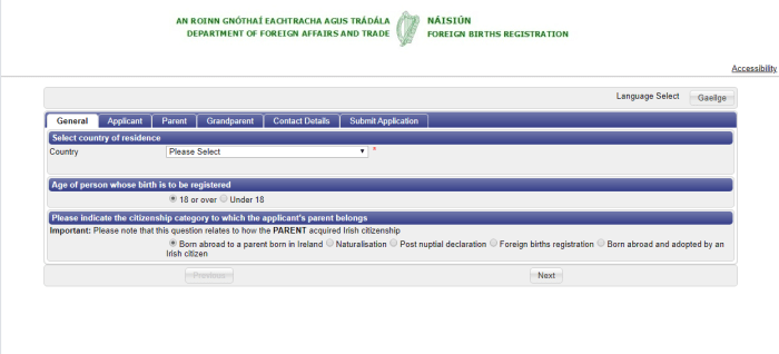 Foreign Birth Registration page on the DFA website