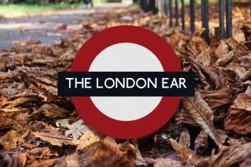 The London Ear Roundel on the background fallen leaves
