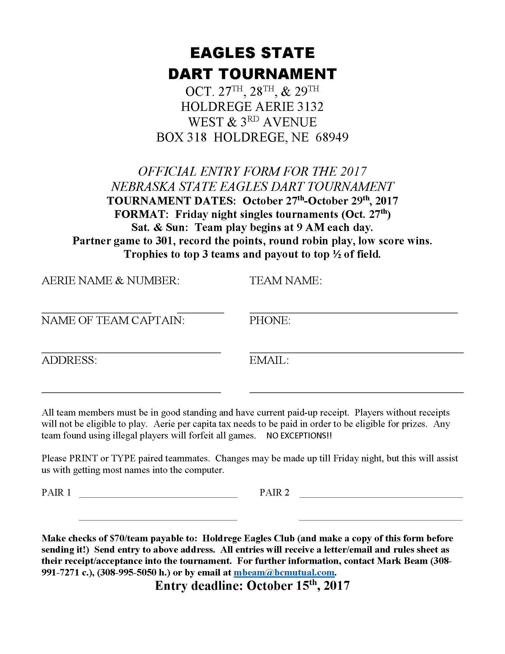 State Darts Registration – Nebraska State F.O.E.