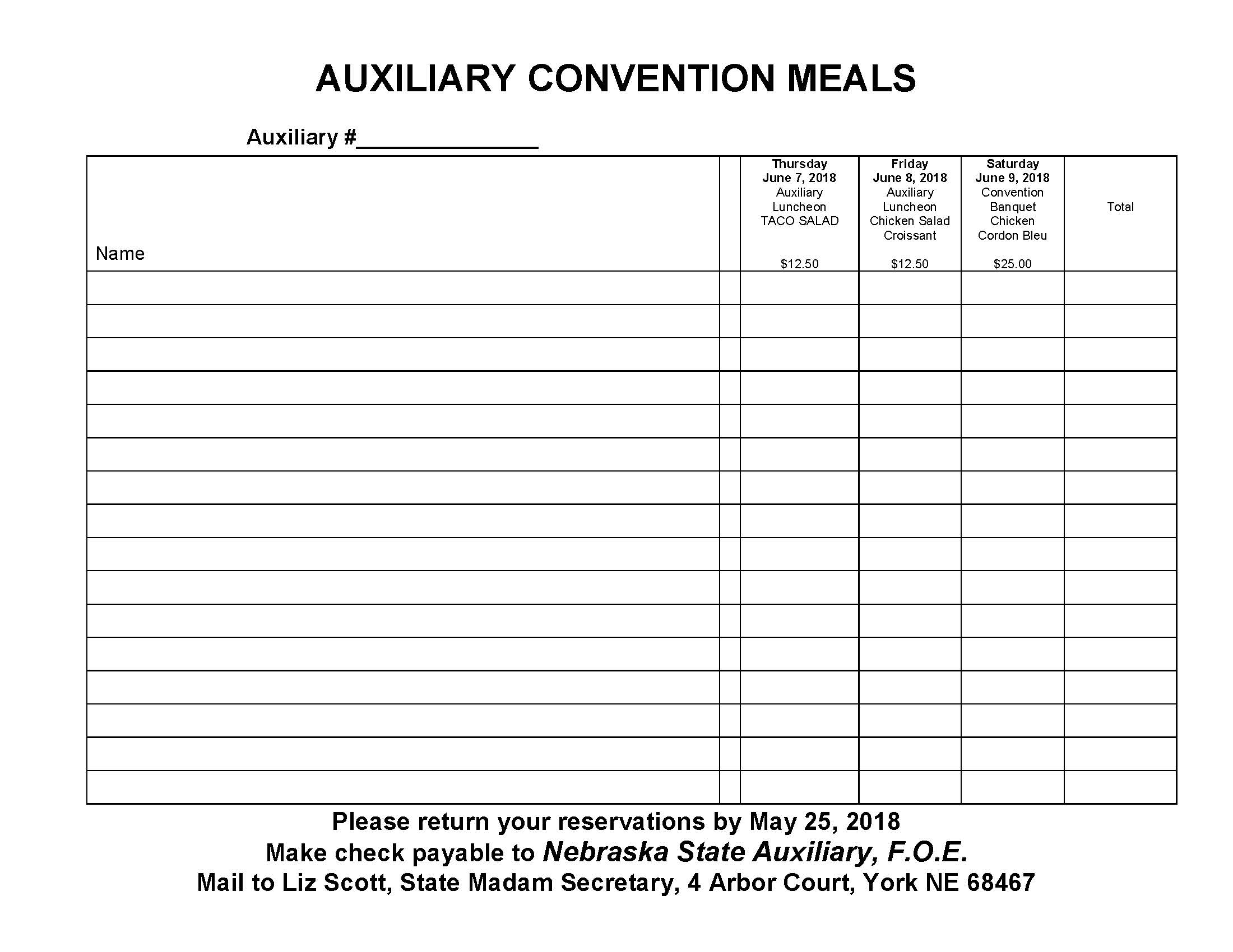 auxiliary meals sign up forms nebraska state f o e