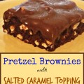 Pretzel Brownies with Salted Caramel Topping