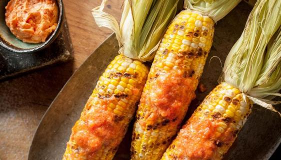 Grilled Corn with Tomato Butter