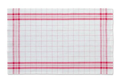 Windowpane Linen Tea Towel red