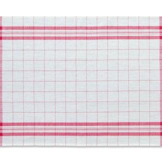 Windowpane Linen Tea Towel red