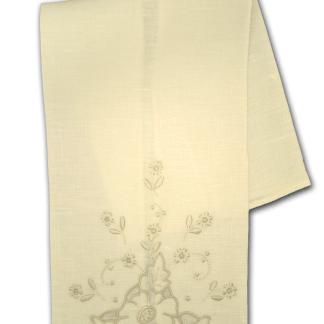Hand Embroidered Ecru Guest Towel