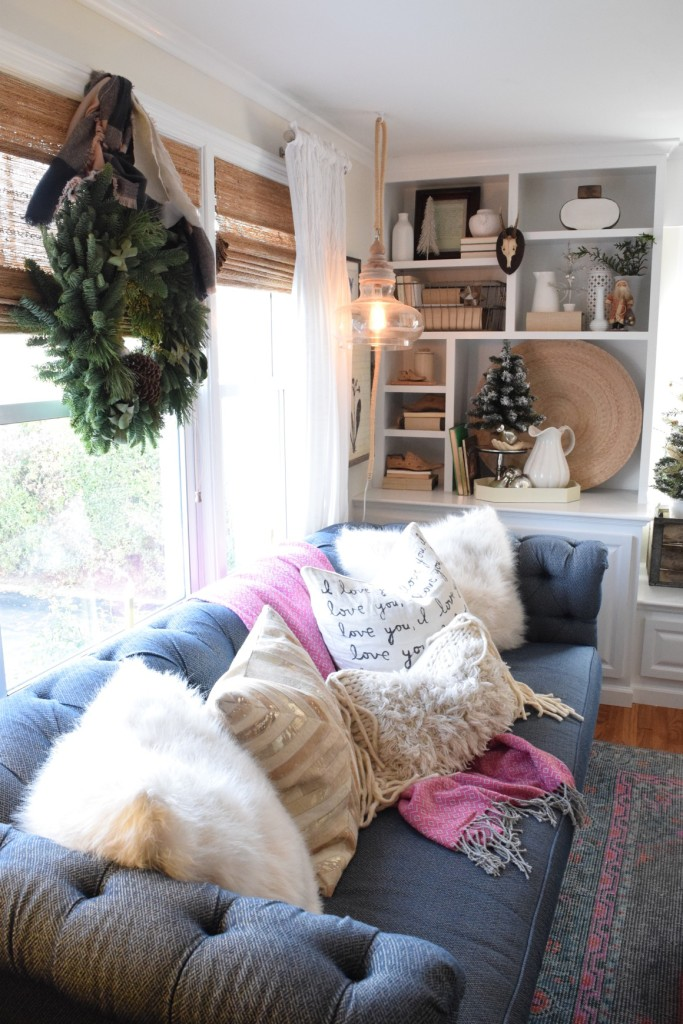 shelter style sofa with holiday feel