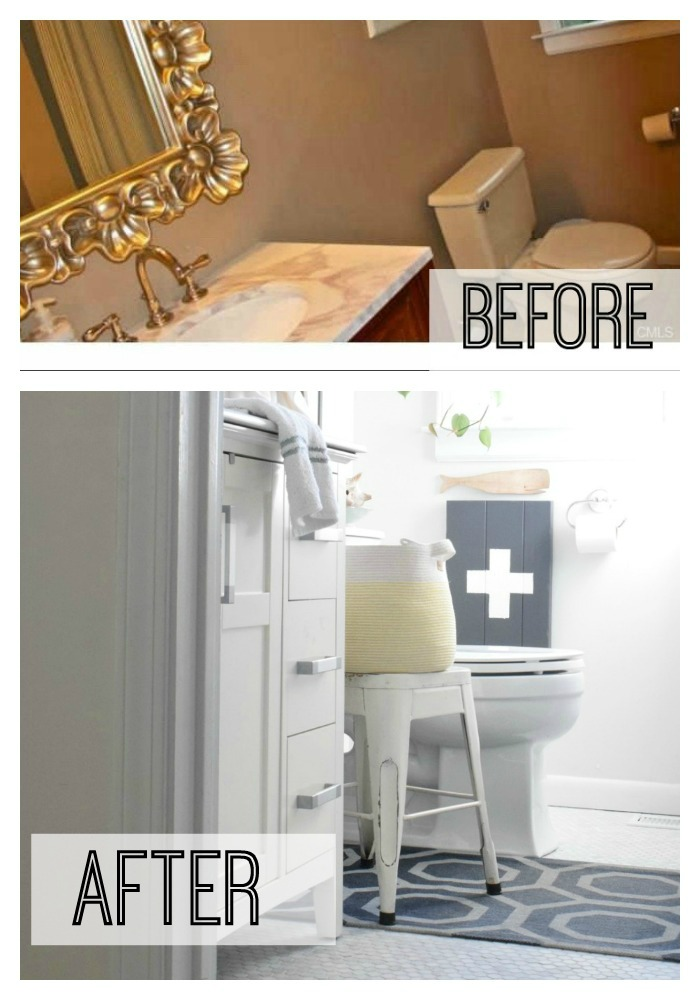 Before and after bathroom remodel  sc 1 st  Nesting With Grace & Connecticut Nautical Bathroom - Nesting With Grace