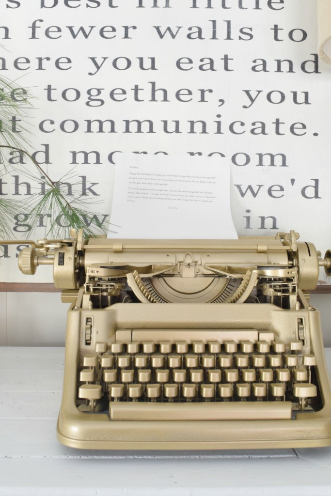 vintage typewriter in gold spray paint
