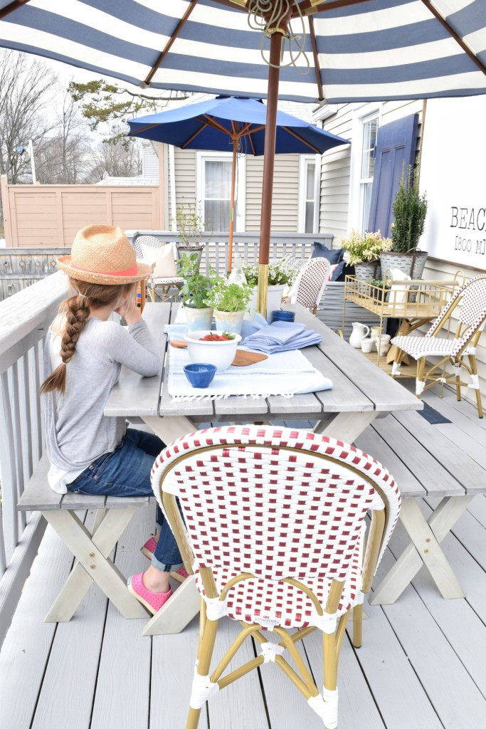 backyard ideas and painted deck remodel