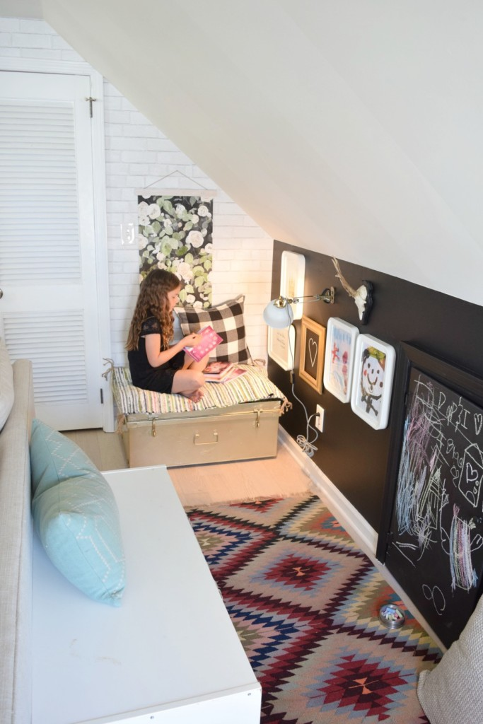 playroom DIY chalkboard wall in a tiny house