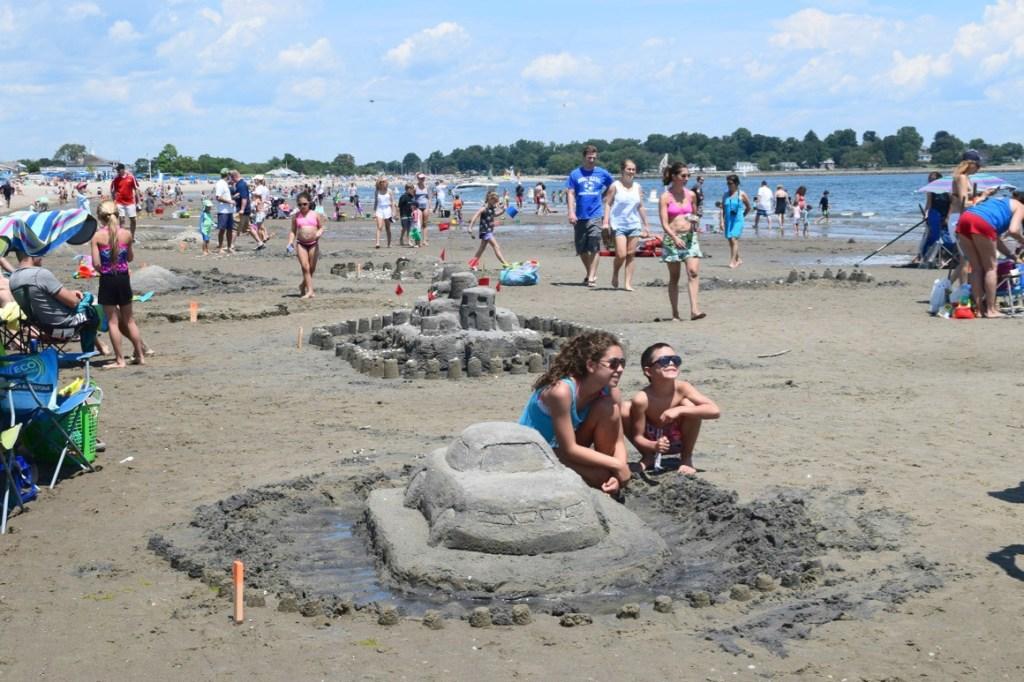 Summer fun sandcastles and beach