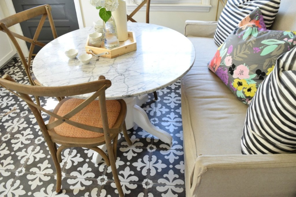 Banquette seating in a small tiny kitchen space