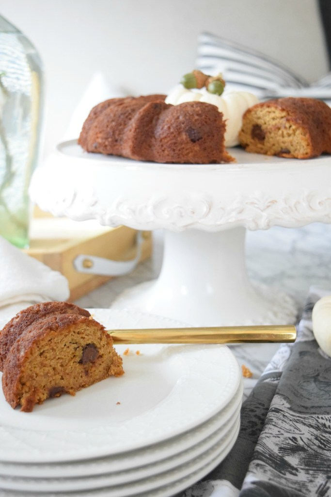 pumpkin bread made in a bundt pan- healthy snacks for kids