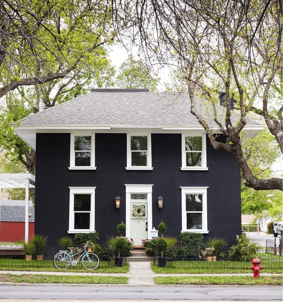 Friday Favorites- Old Home Love Remodel Dark Exterior Painted Home
