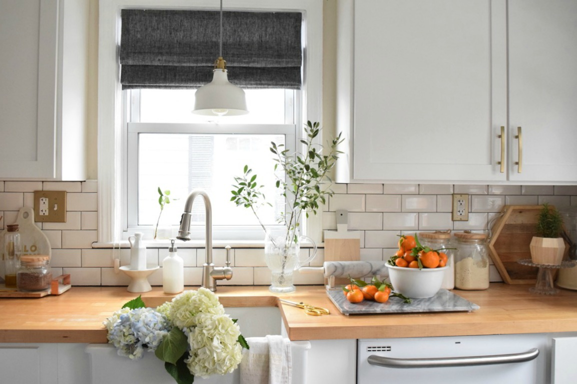 New Roman Shades in the Kitchen - Nesting With Grace