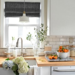 New Roman Shades in the Kitchen