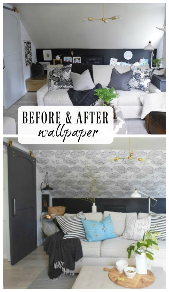 BEFORE and AFTER- Wallpaper Accent Wall-