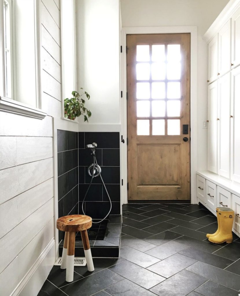 Home Tour- Black and White Mudroom and Gorgeous White Kitchen
