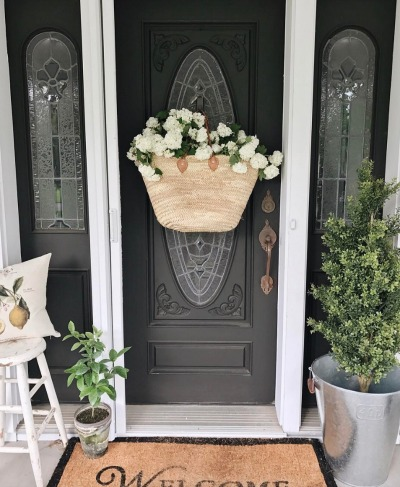 Front Door- Hanging Basket- Non Wreath Idea