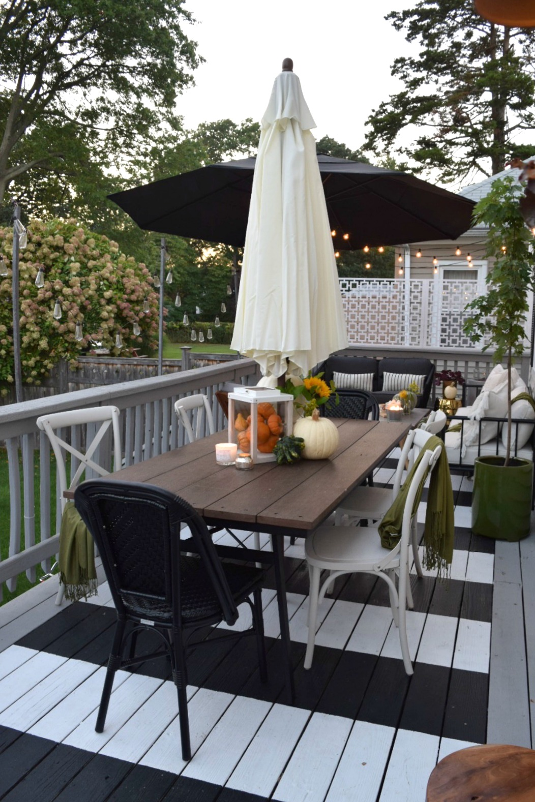Outdoor Patio Space- Painted Stripe Deck and Maximizing Small Backyard Deck