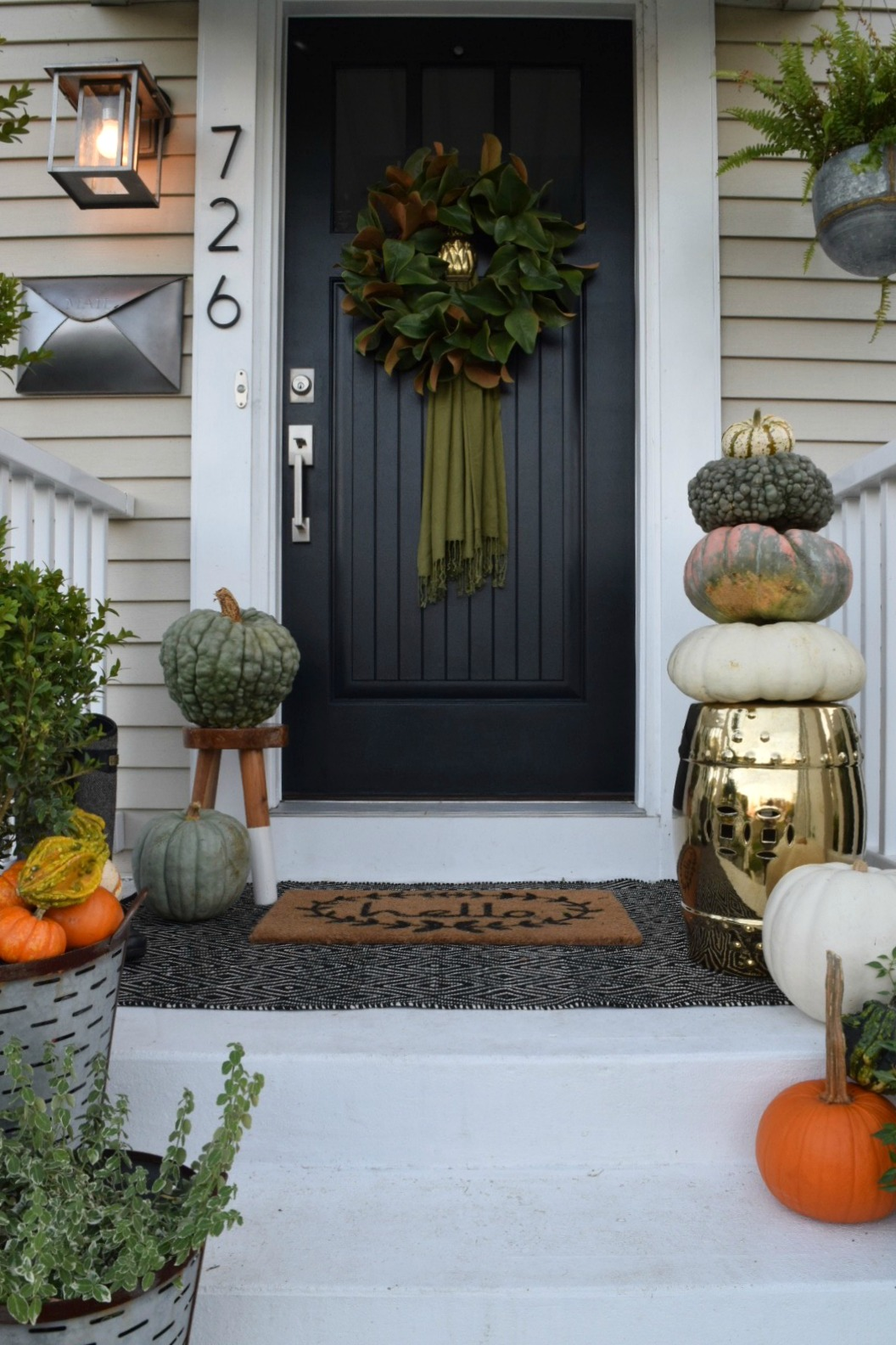 Fall front porch outside our little cape nesting with grace for Small front porch decor