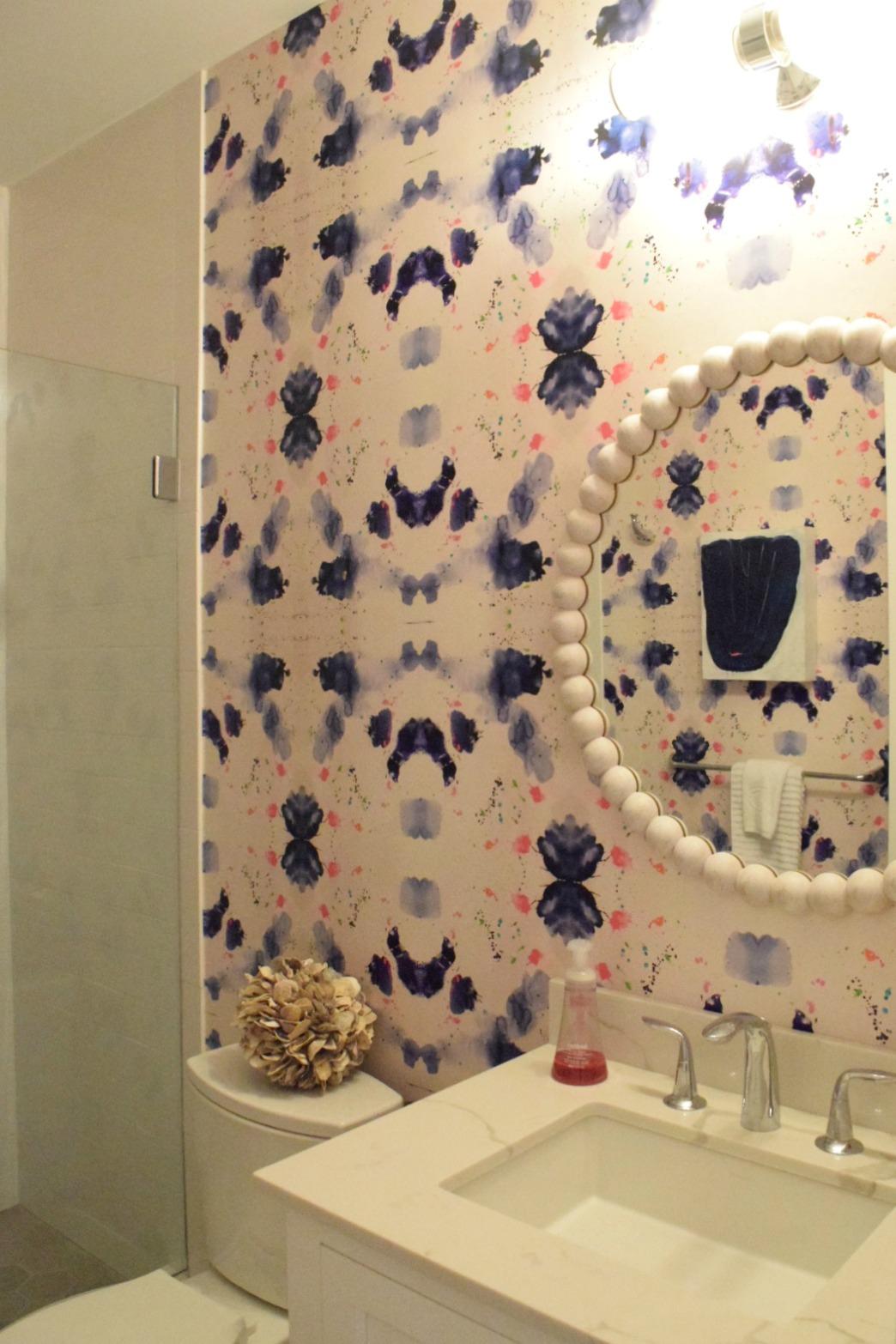 Wallpaper in Bathroom- Washed Wood Mirror