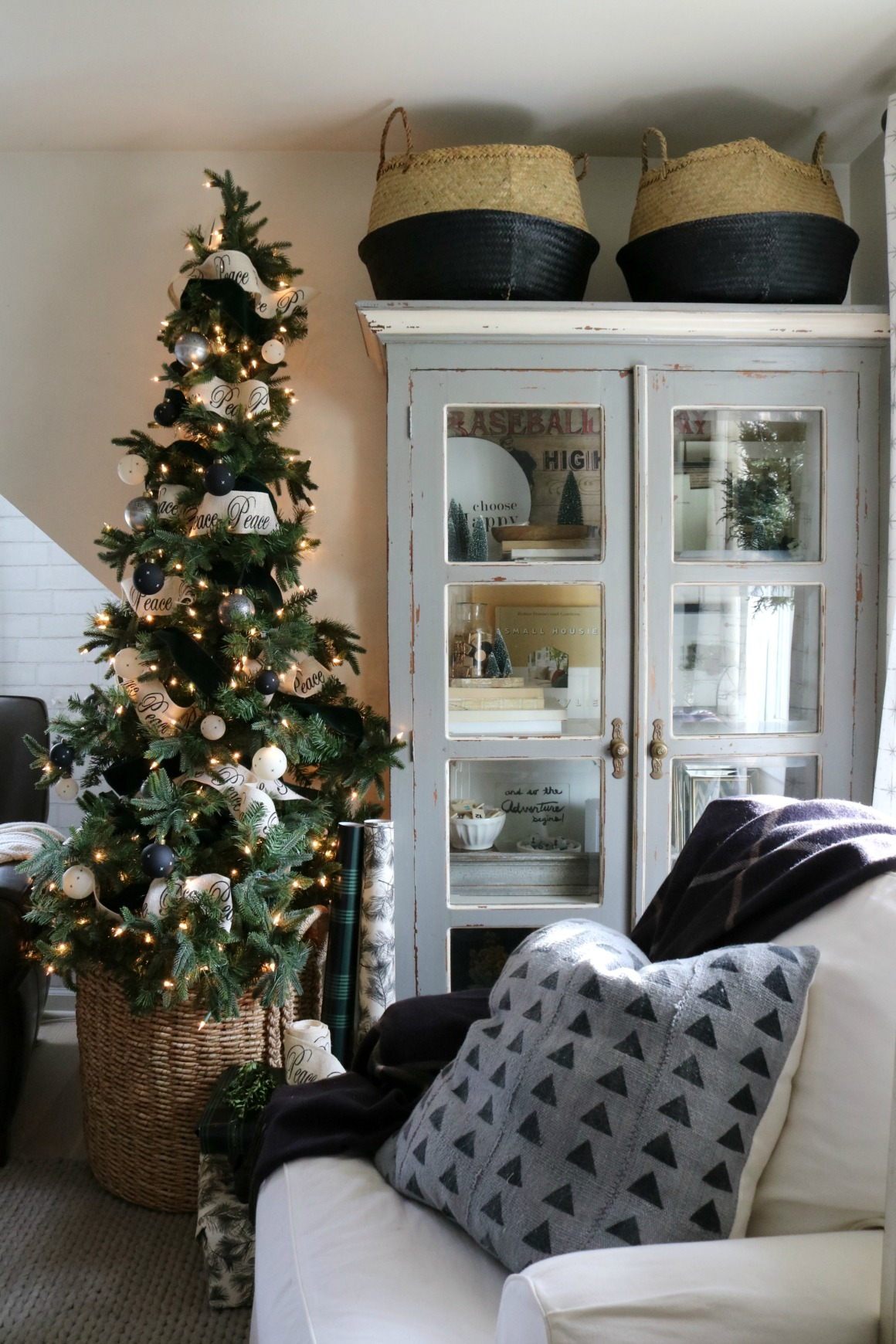 Christmas Decor In A Small Cape Family Room