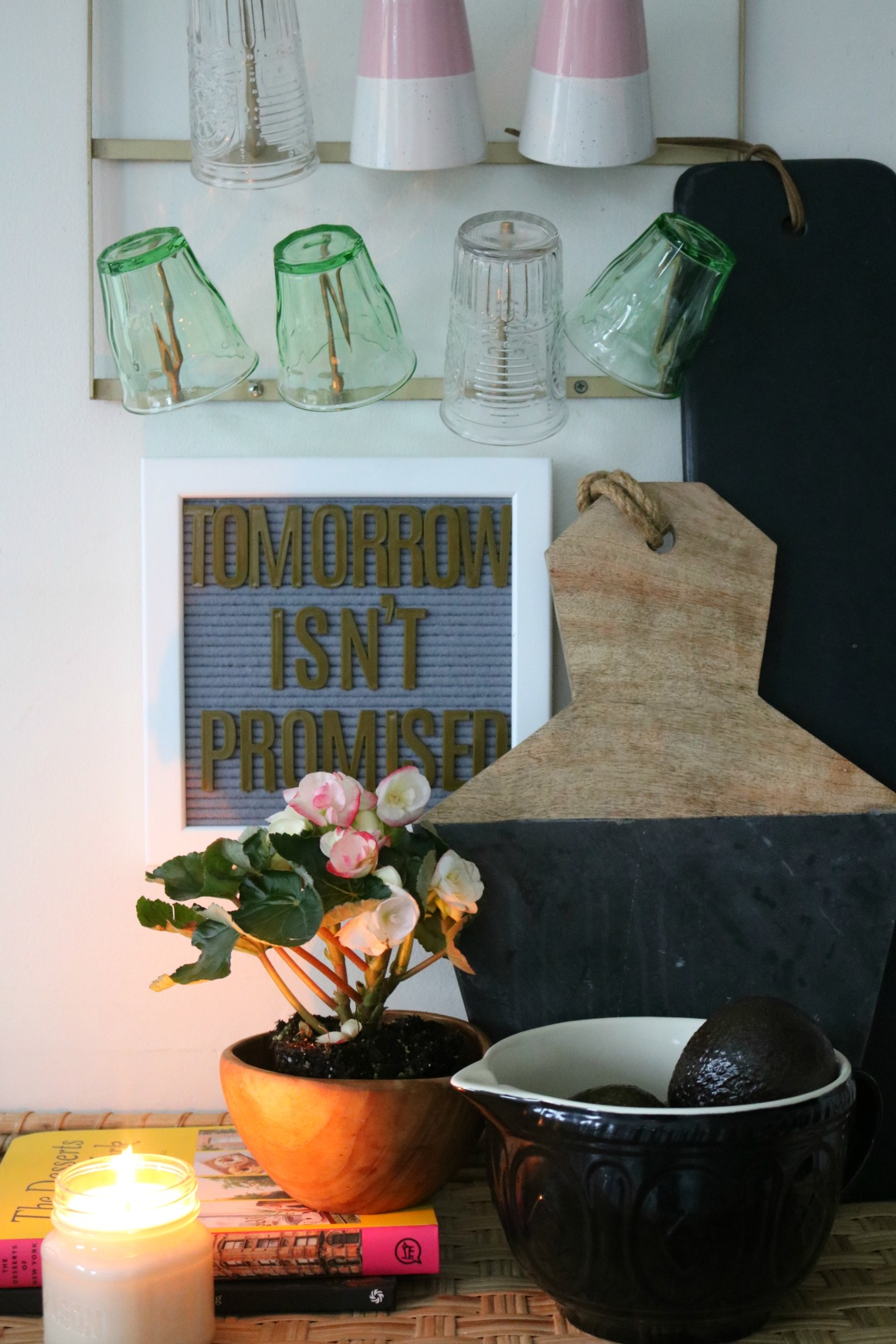 Favorite Things- Glass Cups, Flowers, Letterboards and Books